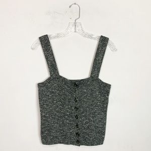Madewell | heathered knit button front crop top S